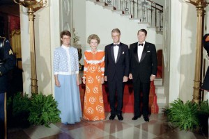 9/9/1987 President Reagan Nancy Reagan Ingvar Carlsson and Ingrid Carlsson in Cross Hall before state dinner for Prime Minister Ingvar Carlsson of Sweden